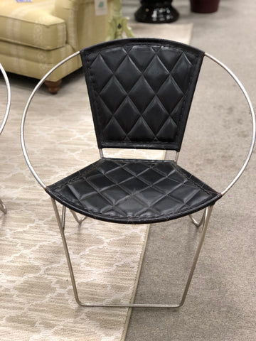 Metal/Leather Accent Chair