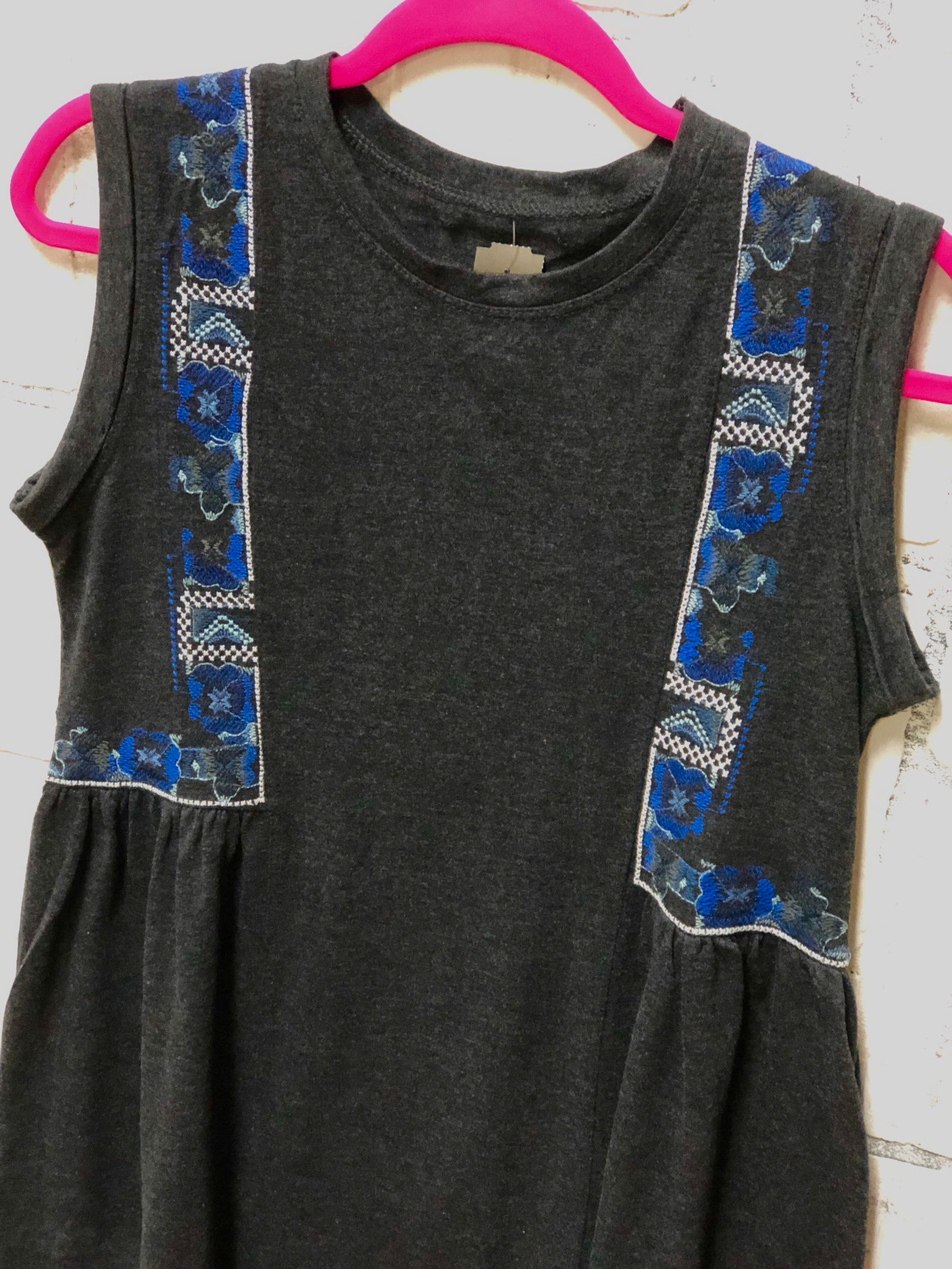 Embroidered Cotton Tank Dress (S)