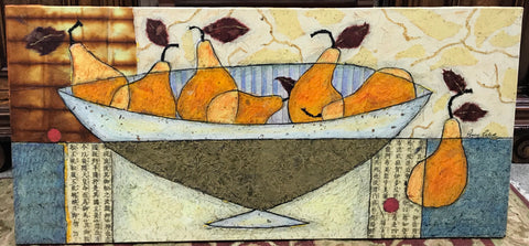"""Pears In Bowl"" Mixed Media Painting"