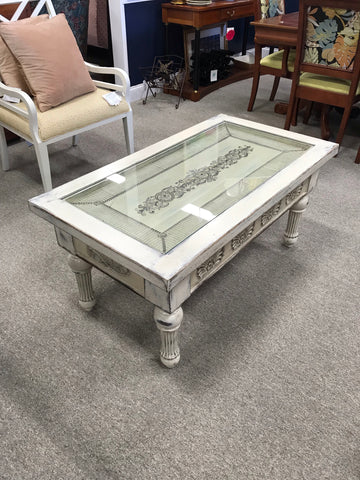 Coffee Table with Glass Top Inlay