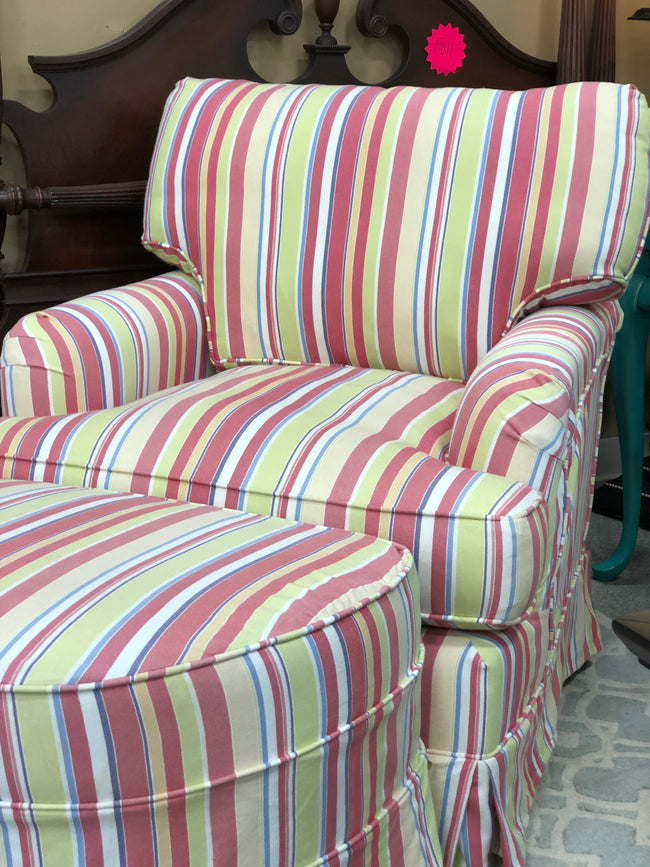 Striped Club Chair and Ottoman