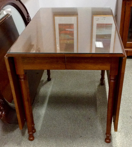Glass Top Drop Leaf Table