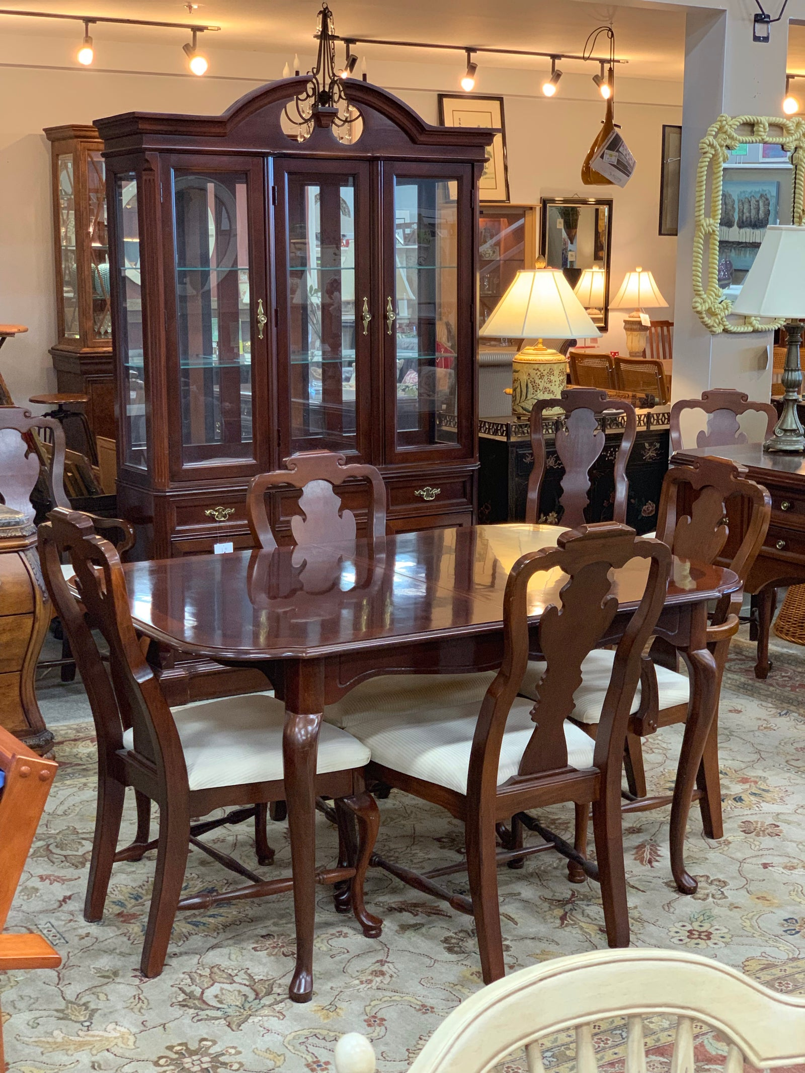 Bassett Table, 8 Chairs and China Cabinet