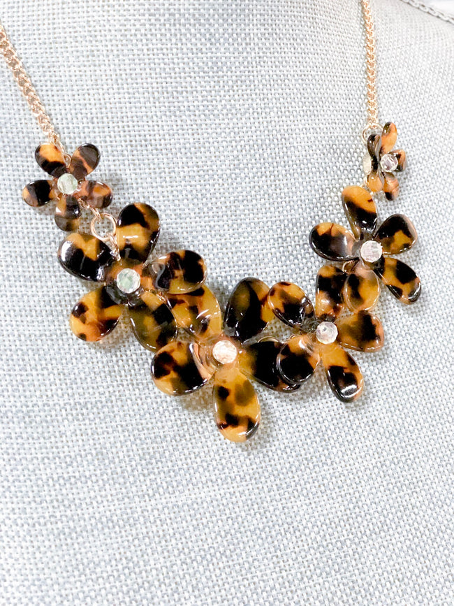 J. Crew Tortoise Shell Floral Necklace