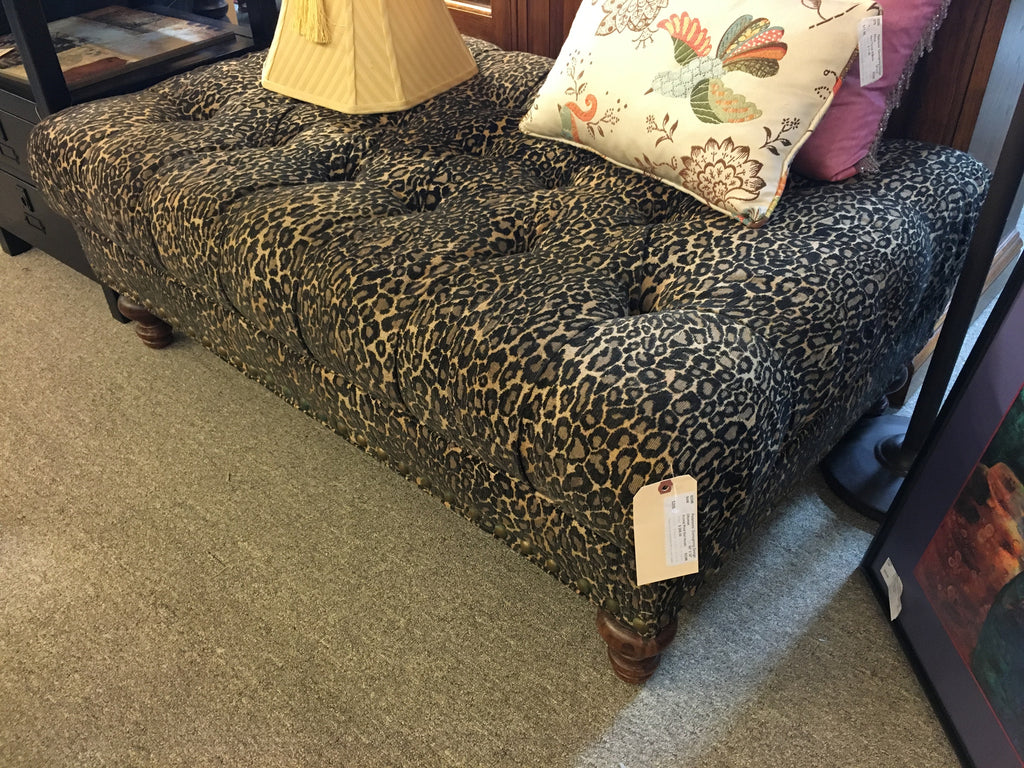 Leopard Tufted Ottoman