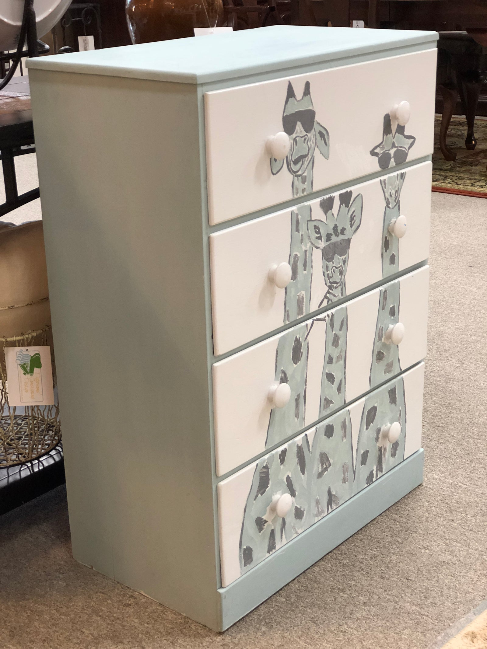 Painted Giraffe Chest of Drawers
