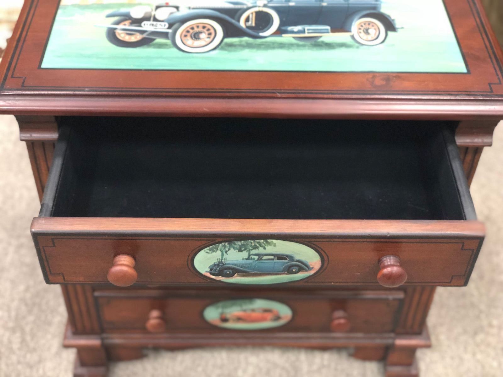 Antique Car Painted End Table