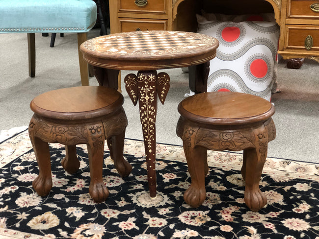 Antique Game Table & Stools