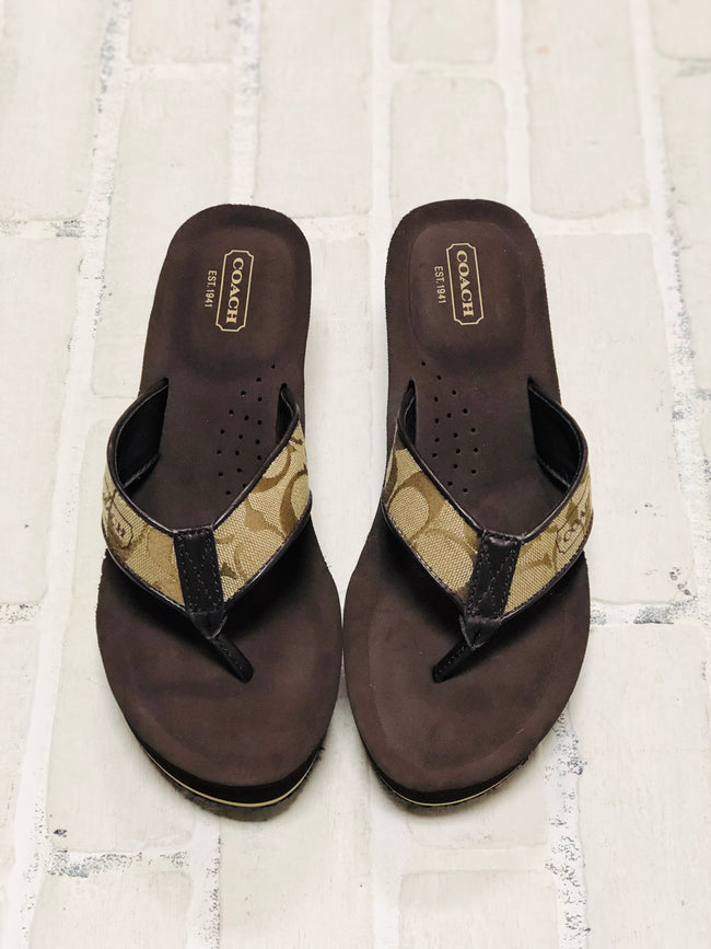 Coach Wedge Flip Flops (8.5)