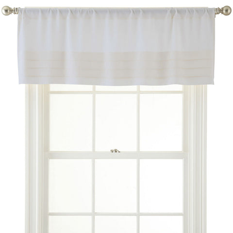 Ally Rod-Pocket Tailored Pleated Valance- Egret
