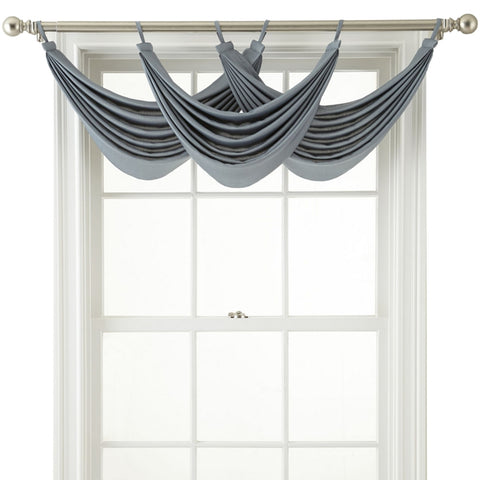 Ally Tab-Top Waterfall Valance- Lustrous Steel