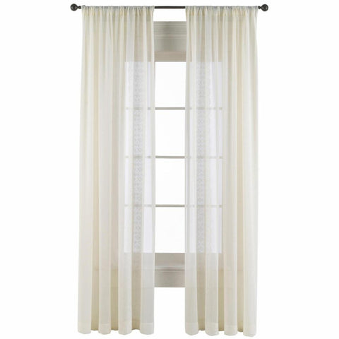 Antoinette Rod Pocket Sheer Panel- Ivory