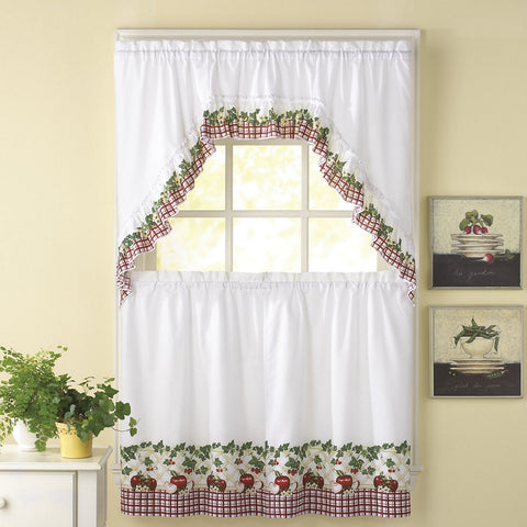 Apple Blossom 3-pc. Rod Pocket Kitchen Curtain Set