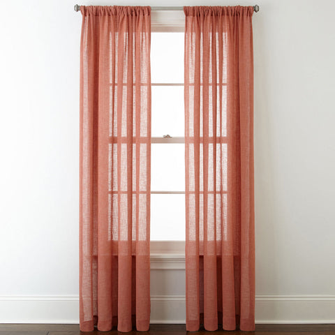 Bayview Grommet-Top Sheer Curtain Panel- Cedarwood