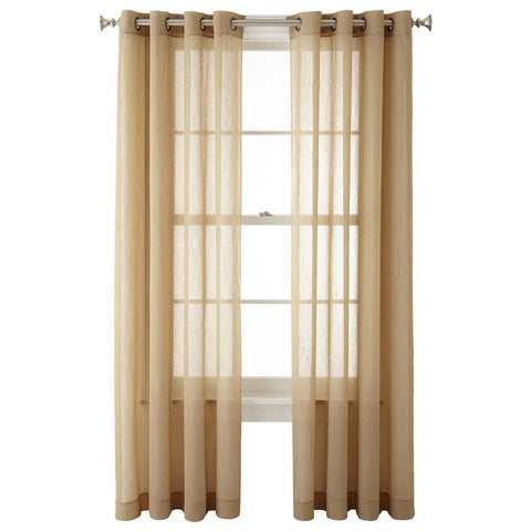 Crushed Voile Rod-Pocket Sheer Panel- Fawn