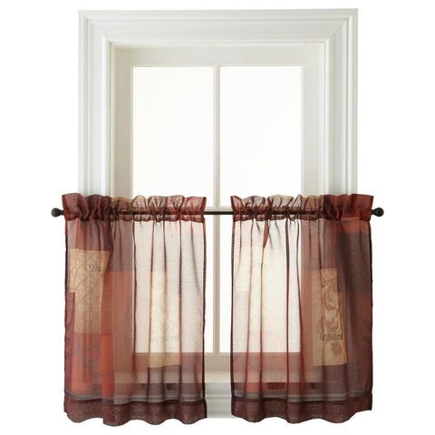 Eden Rod-Pocket Window Tiers- Red