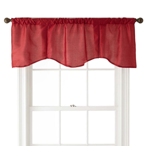 Encore Rod-Pocket Scalloped Valance- Claret