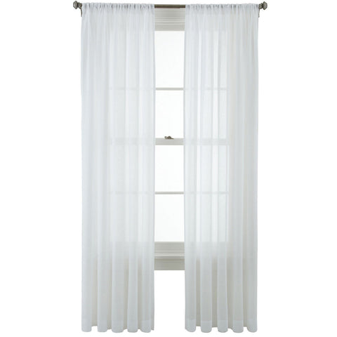 Flutter Rod-Pocket Sheer Panel- White
