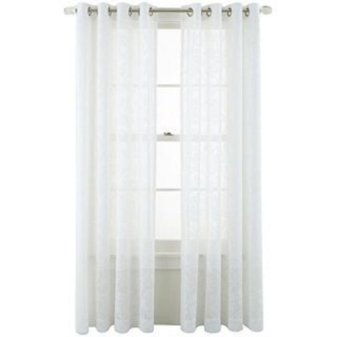 Graceful Garden Grommet-Top Sheer Panel- White