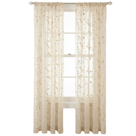 Harmon Rod-Pocket Sheer Panel- Ivory