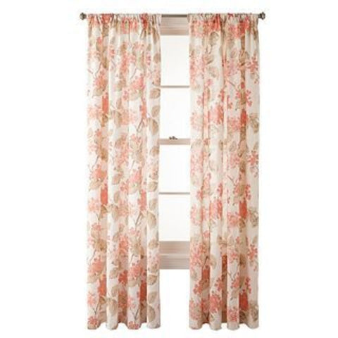 Hydrangea Rod-Pocket Panel- Coral