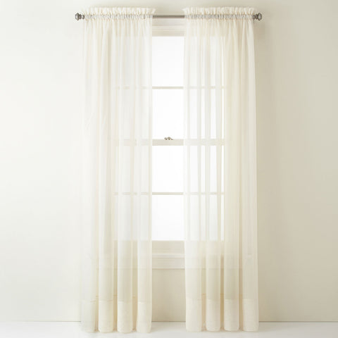 Lisette Rod Pocket Curtain Panel- Ivory