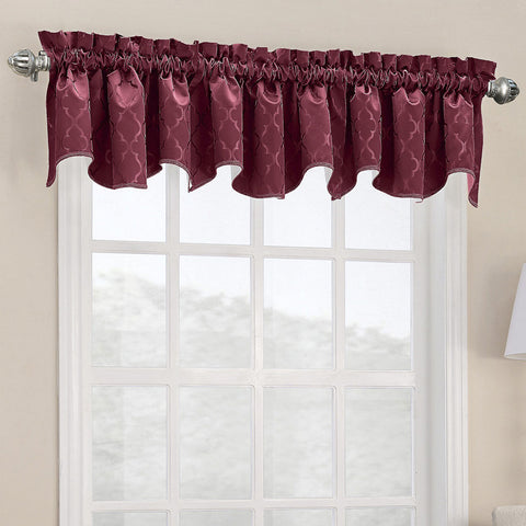 Dion Rod-Pocket Shaped Valance- Burgundy