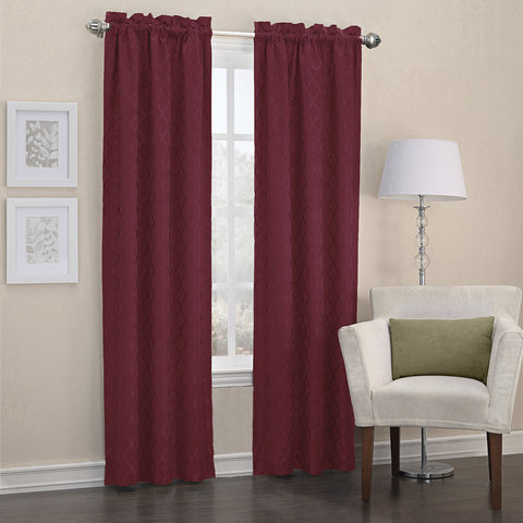 Dion Rod-Pocket Room-Darkening Curtain Panel- Burgundy