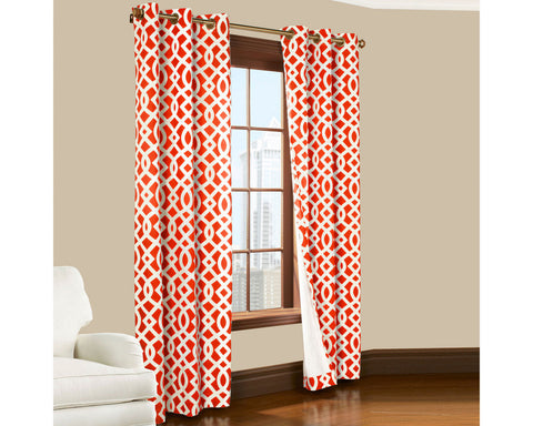 Trellis Thermal Cotton Grommet-Top Panel Pair- Coral