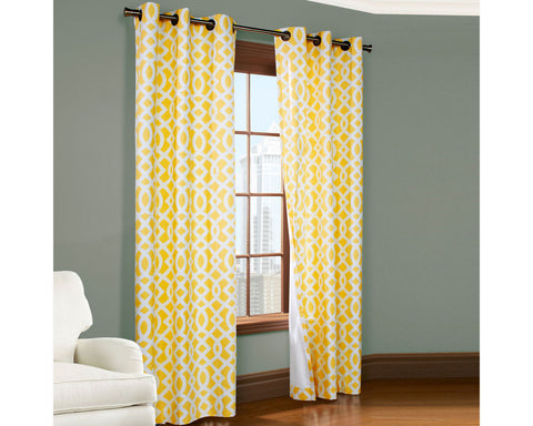 Trellis Thermal Cotton Grommet-Top Panel Pair- Yellow
