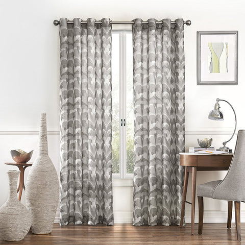 Amadora Ikat Light-Filtering Sheer Grommet-Top Panel- Grey