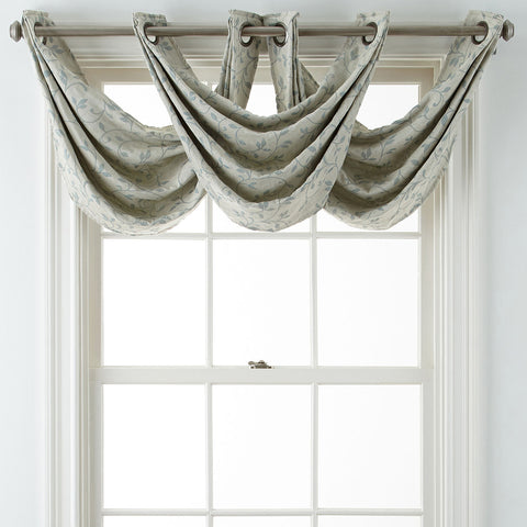 Anza Grommet-Top Waterfall Valance- Abyss Green
