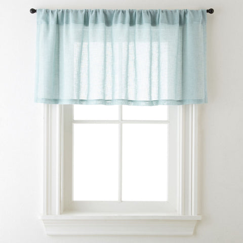 Bayview Rod-Pocket Sheer Tailored Valance- Seamist