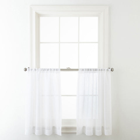 Bayview Rod-Pocket Sheer Window Tiers- Cool White