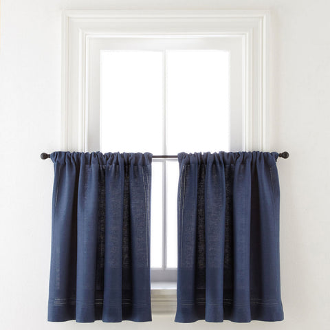 Cameron Rod-Pocket Window Tier Pair- Indigo