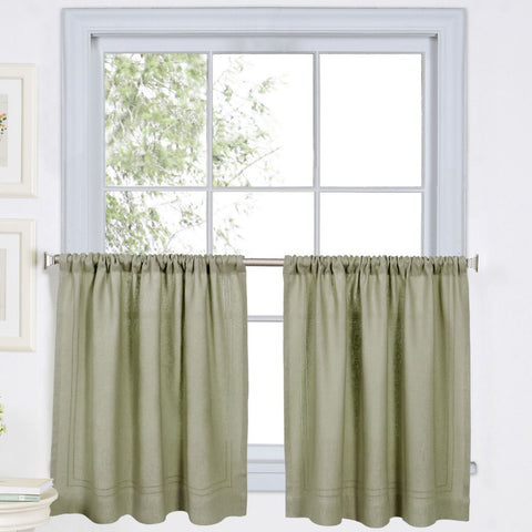 Cameron Rod-Pocket Window Tier Pair- Sage
