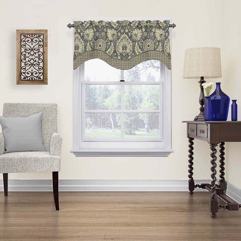 Clifton Hall Scalloped Valance- Flax