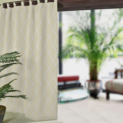Corado Ogee Tab-Top Indoor/Outdoor Curtain Panel- Ivory
