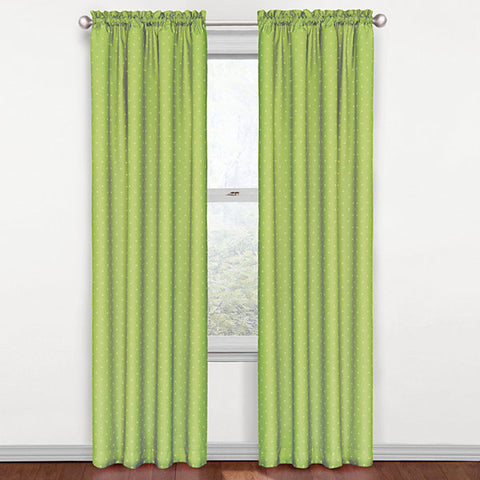 Dots Room-Darkening Rod-Pocket Panel- Green