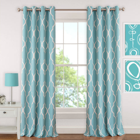 Emery Room Darkening Grommet-Top Panel- Aqua
