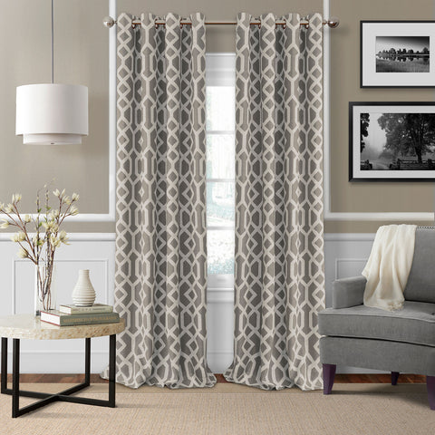 Grayson Room-Darkening Grommet-Top Panel- Gray