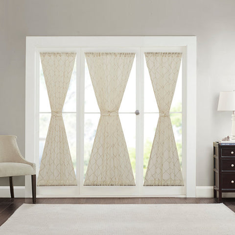 Iris Diamond Sheer Rod-Pocket Door Panel- Ivory