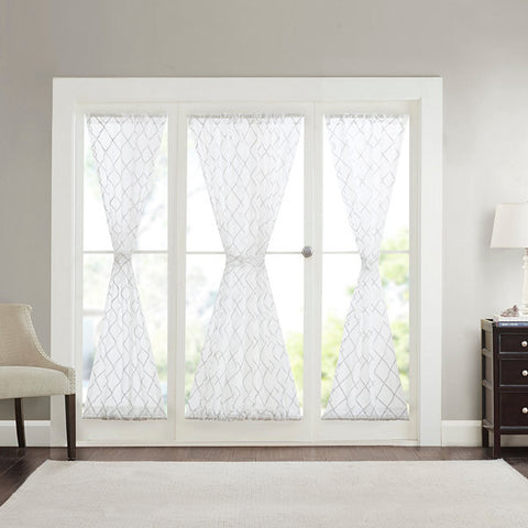 Iris Diamond Sheer Rod-Pocket Door Panel- White
