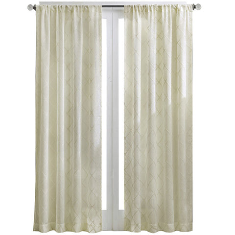 Iris Diamond Sheer Rod-Pocket-Panel- Ivory