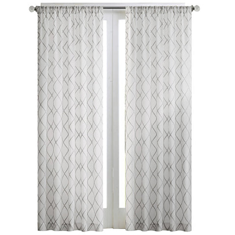 Iris Diamond Sheer Rod-Pocket Panel- Grey White