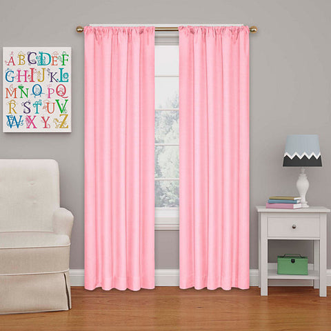 Kids Kendall Room-Darkening Rod-Pocket Panel- Coral