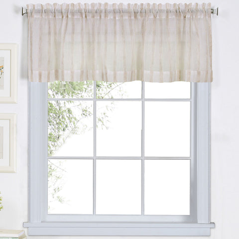 Linen Stripe Rod-Pocket Sheer Valance- Linen