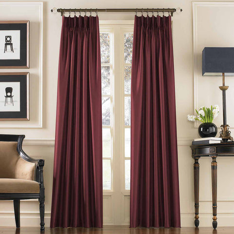 Marquee Faux SIlk Pinch-Pleat/ Back-Tab Panel- Bordeaux