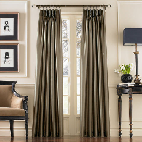 Marquee Faux Silk Pinch-Pleat/ Back-Tab Panel- Bronze