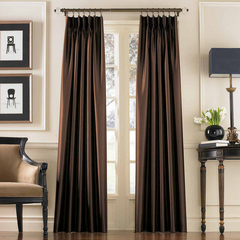 Marquee Faux Silk Pinch-Pleat/ Back-Tab Panel- Chestnut